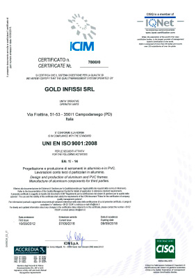 Certificazione ISO Gold Infissi